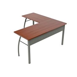 """Linea Italia, Inc L-Shaped Corner Desk, 60""""W, Cherry/Gray"""