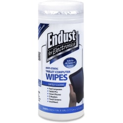 Endust Anti-Static Tablet Wipes 70ct. - For Tablet PC, Desktop Computer, Display Screen, Mobile Phone, Digital Text Reader, Handheld Device - Streak-free, Non-abrasive, Ammonia-free, Anti-static, Pre-moistened - 1 Each - White