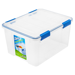"Ziploc® Weathertight® Plastic Storage Container With Built-In Handles And Snap Lid, 44 Quarts, 11"" x 15 4/5"" x 19 7/10"", Clear"
