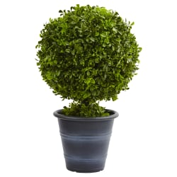 "Nearly Natural 23""H Plastic Boxwood Ball Topiary With Planter, Green"