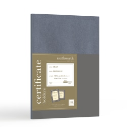 """Southworth® Certificate Holders, 9 1/2"""" x 12"""", Metallic Gray, Pack Of 10"""