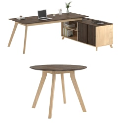 Ameriwood™ Home AX1 3-Piece L-Shape Executive Desk And Meeting Table Set, Walnut