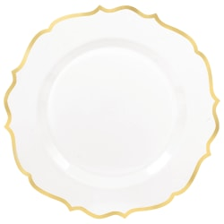"Amscan Ornate Premium Plastic Plates With Trim, 7-3/4"", White/Gold, Pack Of 20 Plates"
