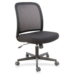Lorell® Mesh-Back Armless Task Chair, Black