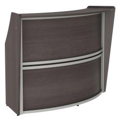 "Linea Italia, Inc 70""W 1-Unit Curved Reception Desk, Mocha"