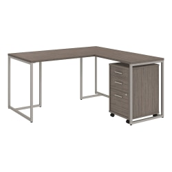 """kathy ireland® Office by Bush Business Furniture Method 60""""W L Shaped Desk with 30""""W Return and Mobile File Cabinet, Cocoa, Standard Delivery"""