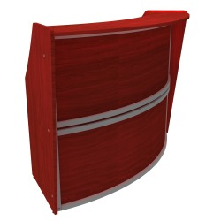 "Linea Italia, Inc 70""W 1-Unit Curved Reception Desk, Cherry"