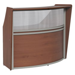 "Linea Italia, Inc 70""W Curved Reception Desk, Cherry"