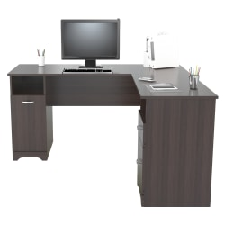 "Inval 59""W L-Shaped 2-Drawer Computer Desk, Espresso"