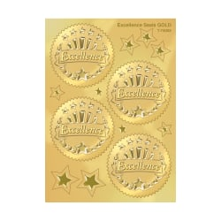 """TREND Excellence Award Seals, 2"""", Gold, Pre-K - Grade 12, Pack Of 32"""