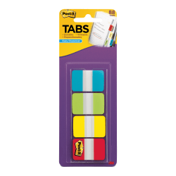 "Post-it® Tabs With On-The-Go Dispenser, 1"", Assorted Colors, Pack Of 88 Tabs"