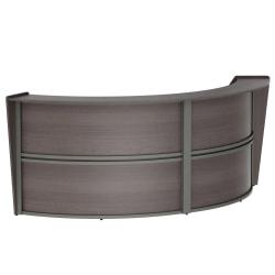 "Linea Italia, Inc. 124""W Curved Modern Reception Desk, Mocha"