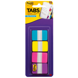 """Post-it® Tabs With On-The-Go Dispenser, 1"""", Assorted Colors, Pack Of 88 Tabs"""