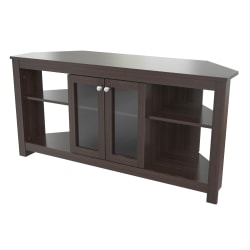 "Inval® Corner TV Stand With Glass Doors For 60"" TVs, 24-1/4""H x 49-1/8""W x 16-1/8""D, Espresso"