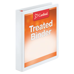 """Treated ClearVue™ Locking 3-Ring Binder, 1 1/2"""" D-Rings, 52% Recycled, White"""