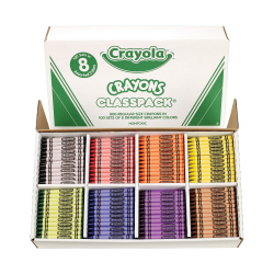 Crayola® Classpack® Standard Crayons, 8 Assorted Colors, Pack Of 800 Crayons
