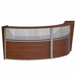 "Linea Italia, Inc 2-Unit 124""W Curved Reception Desk, Cherry"