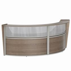 "Linea Italia, Inc 2-Unit 124""W Curved Reception Desk, Natural Walnut"