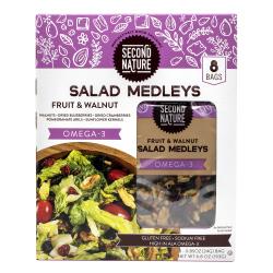 Second Nature Fruit & Walnut Omega-3 Salad Medleys, 0.85 Oz, Pack Of 8 Medleys