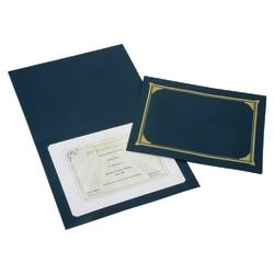 "SKILCRAFT® Certificate/Document Cover, 8 1/2"" x 11"", 8"" x 10"", A4, Blue/Gold, Pack Of 5 (AbilityOne 7510-01-519-5771)"