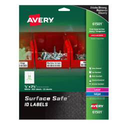 """Avery® Surface Safe™ ID Labels, 7/8"""" x 2 5/8"""", White, Pack Of 825 Labels"""