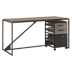 """Bush Furniture Refinery Industrial Desk With 3 Drawer Mobile File Cabinet, 62""""W, Rustic Gray/Charred Wood, Standard Delivery"""