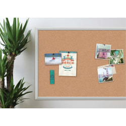 "U Brands Cork Bulletin Board, 36"" x 24"", Aluminum Frame With Silver Finish"