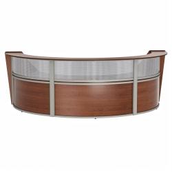 "Linea Italia, Inc 3-Unit 143""W Curved Reception Desk, Cherry"