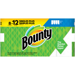 """Bounty Select-A-Size 2-Ply Paper Towels, 11"""" x 5-15/16"""", White, 83 Sheets Per Roll, Pack Of 8 Rolls"""