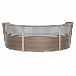 "Linea Italia, Inc 3-Unit 143""W Curved Reception Desk, Natural Walnut"
