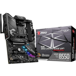MSI MPG B550 GAMING EDGE WIFI Desktop Motherboard - AMD Chipset - Socket AM4 - ATX - 128 GB DDR4 SDRAM Maximum RAM - DIMM, UDIMM - 4 x Memory Slots - IEEE 802.11 a/b/g/n/ac/ax - HDMI - DisplayPort - 6 x SATA Interfaces