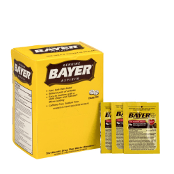 Bayer® Aspirin, 2 Tablets Per Packet, Box Of 50 Packets