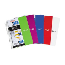 """Five Star® Notebook, 9 1/2"""" x 7 1/4"""", 5 Subjects, College Ruled, 180 Sheets, Assorted Colors (No Color Choice)"""