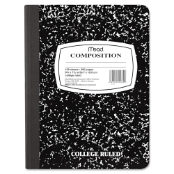 "Mead Composition Book - Sewn - 7 1/2"" x 9 3/4"" - White Paper - Black Marble Cover - 1Each"
