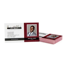 Custom Full-Color Luxury Heavy Weight Color Core Business Cards, Red Core, Square Corners, 1-Side, Box Of 50