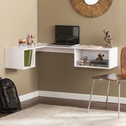 Southern Enterprises Fynn Wall-Mount Corner Desk, White