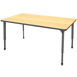 "Marco Group™ Apex™ Series Rectangle Adjustable Table, 30""H 60""W x 30""D, Maple/Gray"