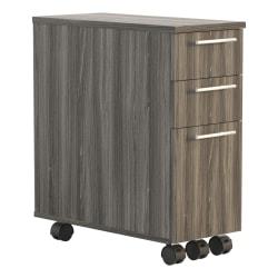 """Safco® Medina 10-5/8""""D Vertical 2-Drawer Freestanding Skinny Pedestal File Cabinet, Walnut"""