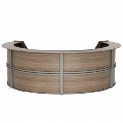 "Linea Italia, Inc 142""W 4-Unit Curved Reception Desk, Natural Walnut"