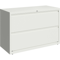 """Lorell 42""""W Lateral 2-Drawer File Cabinet, Metal, White"""