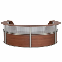 "Linea Italia, Inc 4-Unit 142""W Curved Reception Desk, Cherry"