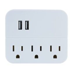 GE USB Wall Charger With 3 Outlets, White, 32193