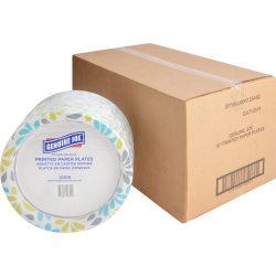 "Genuine Joe Printed Paper Plates - 125 / Pack - 10"" Diameter Plate - Paper Plate - Disposable - Assorted - 500 Piece(s) / Carton"