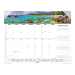 "AT-A-GLANCE® Seascape Panoramic Monthly Desk Pad Calendar, 21-3/4"" x 17"", January To December 2021, 89803"
