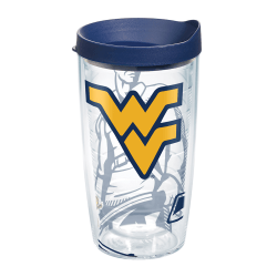 Tervis Genuine NCAA Tumbler With Lid, West Virginia Mountaineers, 16 Oz, Clear