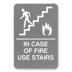 "U.S. Stamp & Sign ADA Sign, 6"" x 9"", ""In Case Of Fire Use Stairs"", Gray/White"