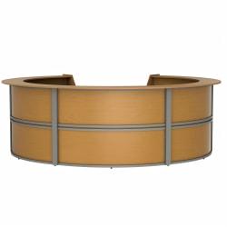 "Linea Italia, Inc. 142""W Curved Modern Reception Desk, Maple"