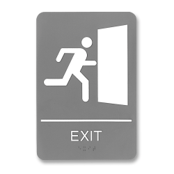"U.S. Stamp & Sign ADA Sign, 6"" x 9"", ""Exit"", Gray/White"