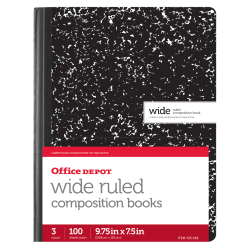 """Office Depot® Brand Marble Composition Book, 7 1/2"""" x 9 3/4"""", Wide Ruled, 100 Sheets, Black/White, Pack of 3"""