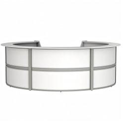 "Linea Italia, Inc. 142""W Curved Modern Reception Desk, White"